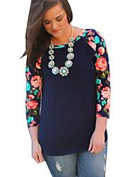 Tee-shirt Femme,Fleur / Couleur Pleine Sortie / Décontracté / Quotidien simple / Chic de Rue Printemps / Automne Manches LonguesCol