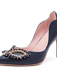 Women's Heels Novelty Leather / Glitter Wedding / Party & Evening / Dress Stiletto Heel Crystal / Beading / Sparkling GlitterBlack /