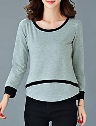 Damen Gestreift Einfach / Street Schick Ausgehen / Lässig/Alltäglich / Übergröße T-shirt,Rundhalsausschnitt Herbst LangarmSchwarz /