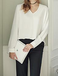 Damen Solide Sexy / Einfach / Niedlich Ausgehen / Lässig/Alltäglich T-shirt,V-Ausschnitt Langarm Weiß / Schwarz Baumwolle / Polyester