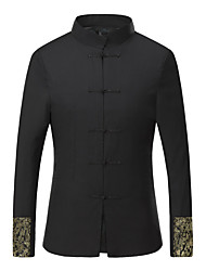 Men's Formal Chinoiserie JacketsEmbroidered Stand Long Sleeve Fall / Winter Black Cotton / Polyester Medium K281