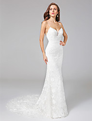 Sheath / Column Spaghetti Straps Court Train Lace Wedding Dress with Lace by LAN TING BRIDE®