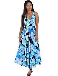 Women's Multi-color Floral Print Paneled Dress