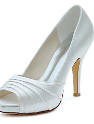 Women's Heels Spring / Fall Platform Stretch Satin Wedding / Party & Evening / Dress Stiletto Heel Ruffles Ivory Others