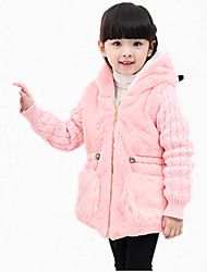 Girl's Casual/Daily Embroidered Down & Cotton Padded,Polyester Winter / Spring / Fall Brown / Pink / White