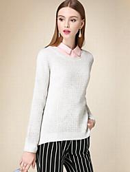 Damen Kurz Pullover-Lässig/Alltäglich Einfach Solide Grau Rundhalsausschnitt Langarm Baumwolle Herbst Dünn Unelastisch