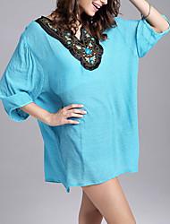 Tee-shirt Femme,Couleur Pleine Décontracté / Quotidien simple Automne / Hiver Manches ¾ Col en V Blanc / Vert Polyester Moyen