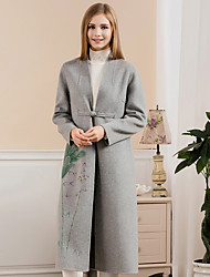 Women's Going out Chinoiserie Coat,Print V Neck Long Sleeve Winter Blue / Gray Wool / Polyester Thick