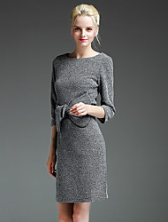 GATHER BEAUTY Women's Going out Simple Sheath DressSolid Round Neck Above Knee  Sleeve Gray Rayon / Polyester Fall High Rise Micro-elastic Medium