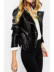 Women's Casual/Daily Simple Leather JacketsSolid Round Neck Long Sleeve Fall