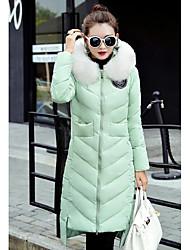 Пальто Простое Длинная Пуховик Женский,Однотонный На каждый день / Большие размеры Полиэстер Пух белого гуся,Длинный рукав Зеленый
