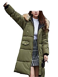 Women's Long Down CoatPrint-Cotton / Polyester Polyester / Cotton Long Sleeve Round Neck Black / Gray / Green