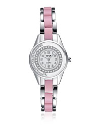 Women's Fashion Watch / Bracelet Watch Quartz Water Resistant/Water Proof / Stopwatch Alloy Band Charm / Casual Pink Brand