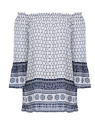 Damen Paisley-Muster Retro / Einfach Ausgehen / Lässig/Alltäglich T-shirt,Schulterfrei Alle Saisons Langarm Weiß Polyester Mittel