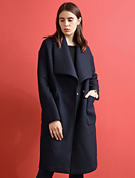 Women's Going out Vintage Coat,Solid Peter Pan Collar Long Sleeve Winter Blue Wool / Polyester Medium