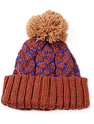 Unisex Color Mixing Curling Hand-woven Tweed Knit Cap Stitching Color Hair Ball Warm Wool Hat
