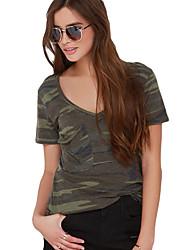 Damen Einfarbig Einfach Lässig/Alltäglich T-shirt,V-Ausschnitt Sommer Kurzarm Blau / Schwarz / Grün Polyester / Elasthan Dünn