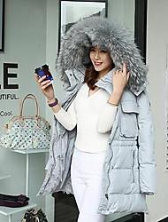 Пальто Простое Пуховик Женский,Однотонный На каждый день Полиэстер Пух белой утки,Длинный рукав Серый