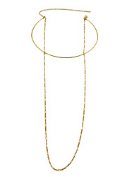 Fashion Gold Color Collar Necklace with Long Chain