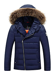 Men's Long Padded Coat,Simple Casual/Daily Solid-Polyester Cotton Long Sleeve Hooded Blue