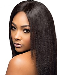 8 a 22 polegadas brasileira yaki do cabelo humano em linha reta perucas de 4,5 parte profunda rendas frente perucas glueless para as