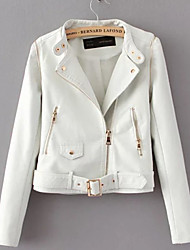 Women's Casual/Daily Simple Leather Jackets,Solid Long Sleeve Winter White / Black PU