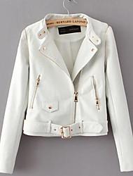 Feminino Jaquetas de Couro Casual Simples Inverno,Sólido Branco / Preto PoliuretanoManga Longa