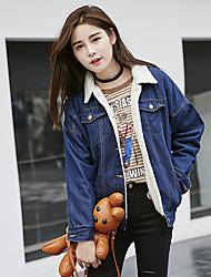 Giacche di jeans Da donna Per uscire / Casual Primavera / Inverno Vintage / Semplice / Moda città,Tinta unita Squadrata Lana BluManica