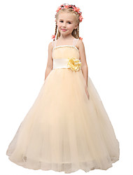 Ball Gown Floor Length Flower Girl Dress - Satin Tulle Sleeveless Spaghetti Straps with Flower