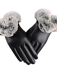 Warm Fitness Touch-Screen Leather Gloves (Black Touch Screen)