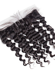 13x4 Lace Super Wave Human Hair Full Lace Frontal Medium Brown Swiss Lace about 50g gram Average Cap Size