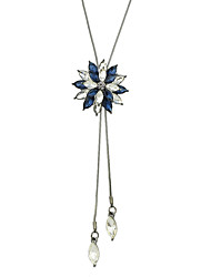 Fashion Colorful Rhinestone Flower Long Pendant Necklace