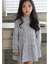 Girl Casual/Daily Floral Dress,Cotton Fall Long Sleeve Long