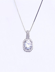 Necklace AAA Cubic Zirconia Pendant Necklaces Jewelry Wedding / Party / Daily / Casual Fashion / Adorable Sterling Silver / Zircon Silver