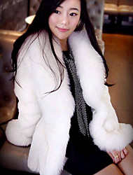 Women's Casual/Daily Simple Fur Coat,Solid Long Sleeve Winter White Faux Fur