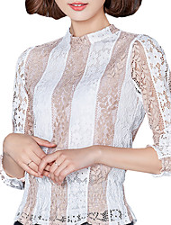 Women's Plus Size/Going out/Casual/Daily/Street chic Spring / Fall Blouse Striped Color Block Stand Long Sleeve Shirt