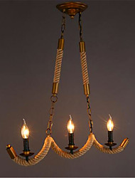 American Country Vintage Industrial Storm Wave Rope Chandelier (E14 Three Head Diameter 68CM)