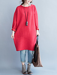 Women's Casual/Daily Street chic Loose DressSolid Knee-length Long Sleeve Blue / Red / Purple Cotton Winter Mid Rise