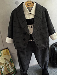 Boy's Formal Check Suit & Blazer / Clothing SetCotton Spring / Fall Gray
