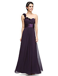 2017 Lanting Bride® Ankle-length Chiffon Elegant Bridesmaid Dress - A-line One Shoulder with Flower(s)