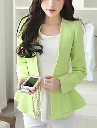 Women's Ruffle Casual/Daily Cute Jackets,Solid Round Neck Long Sleeve Fall / Winter White / Green Acrylic Medium
