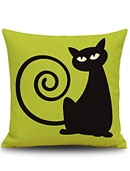 Halloween Capuchin Black Cat Square Linen Decorative Throw Pillow Case Cushion Cover