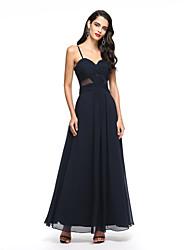 2017 ts Couture® bal formelle soir, une ligne bretelles spaghetti cheville longueur en mousseline de soie avec la croix criss