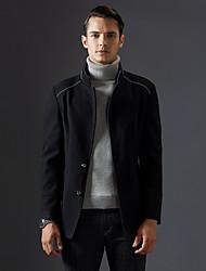 Masculino Casaco Casual Simples Inverno, Sólido Azul / Preto Lã Colarinho Chinês-Manga Longa Grossa