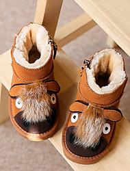 Girl's Boots Fall / Winter Comfort PU Casual Flat Heel Zipper Black / Brown Walking