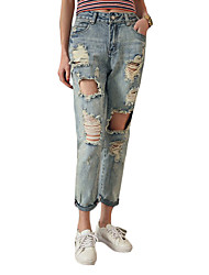 Women's Solid Blue Jeans PantsSexy / Vintage / Street chic Spring / Summer