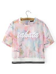Damen Blumen Niedlich Ausgehen T-shirt,Rundhalsausschnitt Sommer Kurzarm Weiß Baumwolle / Polyester Mittel