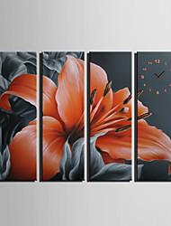 E-HOME® Orange Flower Clock in Canvas 4pcs