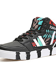 Women's Sneakers Spring Fall Comfort PU Outdoor Casual Flat Heel Lace-up Black Gray Coral