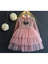 Girl's Going out Solid DressOthers Fall Pink / Gray